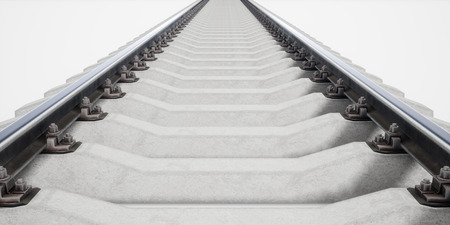 Single rail isolted on white background. 3d rendering.