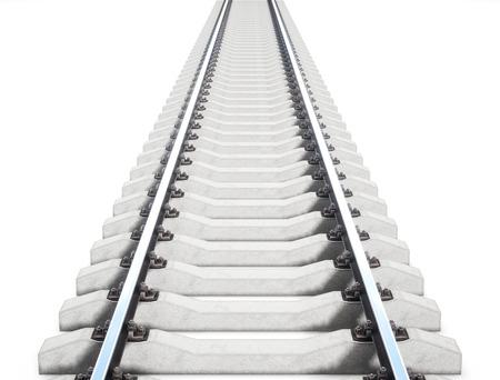 Rail unique isolé sur fond blanc. rendu 3D