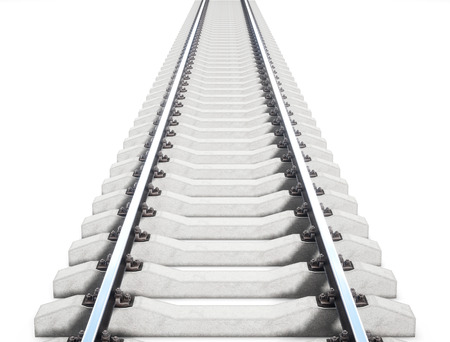 Single rail isolted on white background. 3d rendering Stock Photo