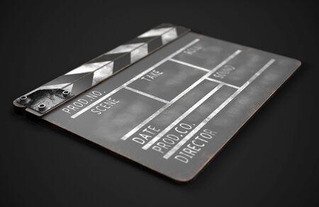 Movie clapper board in black
