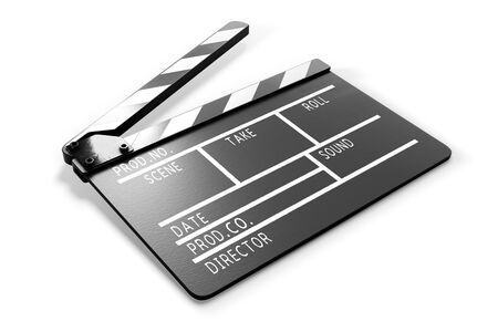 Clapperboard on white background close-up. 3d rendering