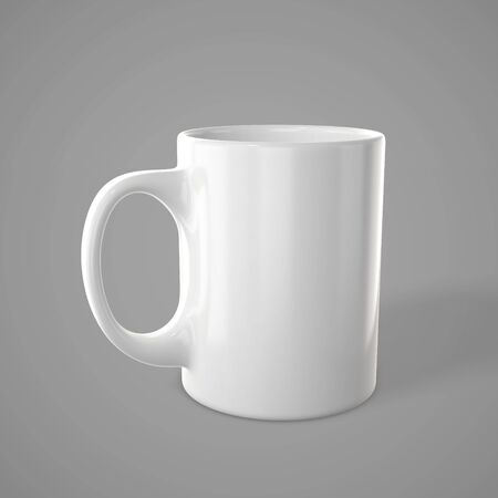 Shiny white mug. Empty tea cup for your design. 3d rendering Stockfoto