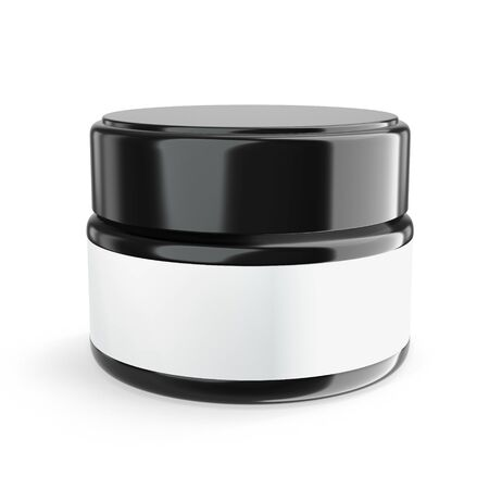 3D rendering Realistic cosmetic jar with lid and label on a white background. Cosmetic template for cream mock up Zdjęcie Seryjne