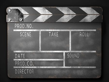 Clapperboard on a dark background front view. 3d rendering
