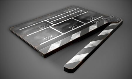 Clapperboard on a dark background close-up. 3d rendering Stockfoto