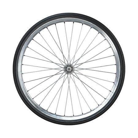 Ruota di bicicletta isolata su priorità bassa bianca. Vista laterale. rendering 3d