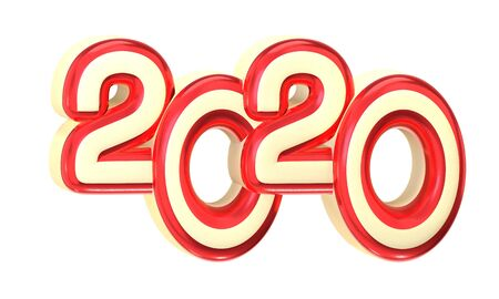 2020 symbol, icon or button isolated on white background, represents the new year 2020, three-dimensional rendering, 3D illustration. Stockfoto