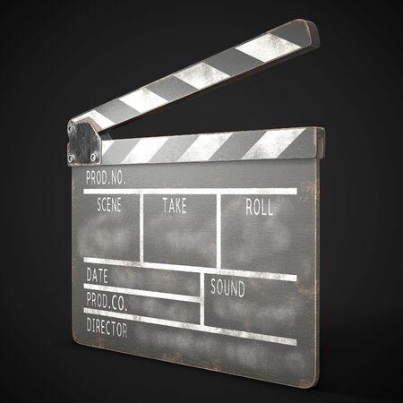 Old clapperboard on a dark background. 3d rendering