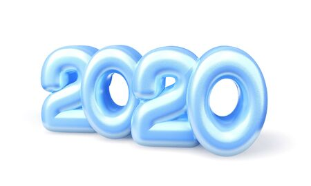 2020 figures of ice isolated on white background. A new 2020 year figures. 3d rendering