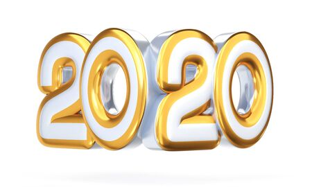 2020 symbol, icon or button isolated on white background, represents the new year 2020. 3D rendering, 3D illustration