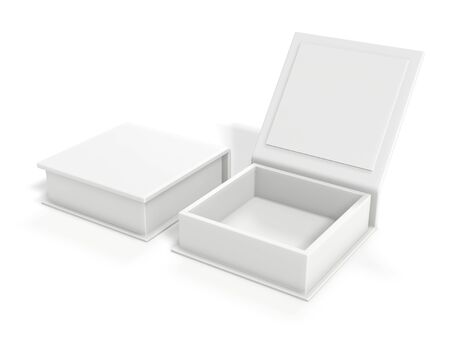 White blank cardboard box isolated on white background. Mock up template. 3d rendering