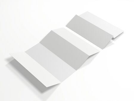 Blank white four folded map mockup isolated on white background. Mock up template for your design. 3d rendering.