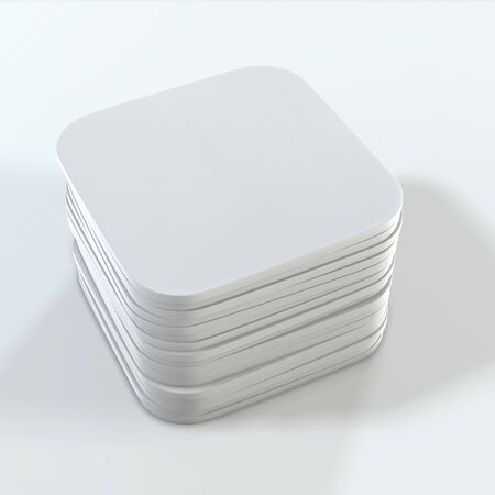 Stack of white square coasters. Mock up template for your design. 3d rendering.