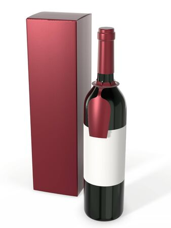 Wine bottle mockup with blank label isolated on white background. A bottle with a hanging tag for your brand and a cardboard packaging box. 3d rendering.
