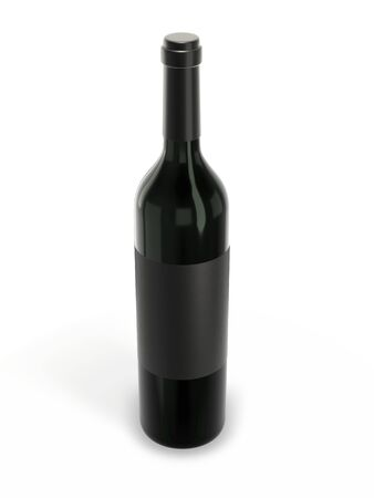 Wine bottle mockup with blank label isolated on white background. 3d rendering. Stockfoto