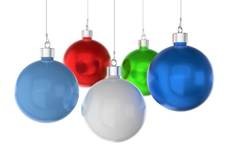 Christmas balls of different colors on a white background. 3d rendering Stockfoto