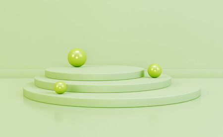 Abstract scene podium pastel colors with spheres. 3d rendering, 3d illustration