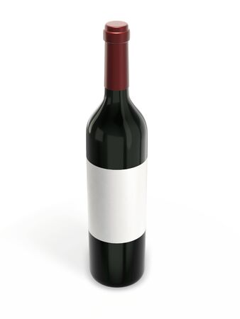Wine bottle mockup with blank label isolated on white background. 3d rendering. Imagens