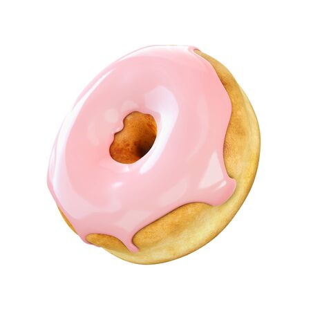 Donut with pink icing isolated on a white background. 3D rendering. Imagens