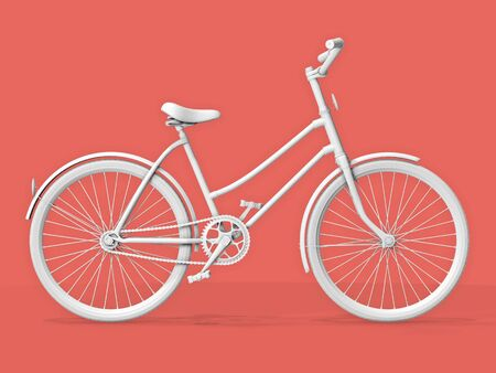 Bicycle on a pink (salmon) pastel background. 3d rendering.