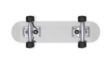 Inverted skateboard on a white background. 3d rendering.