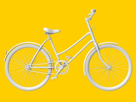 Bicycle on a yellow pastel background. 3d rendering.