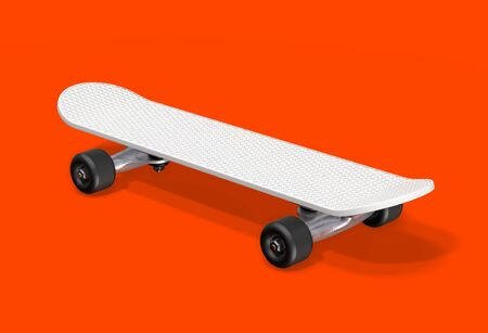 White skateboard on a red background. 3d rendering.