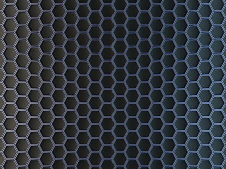 Hexagonal cells on a gray background. Abstract background with geometric structure. Texture with honeycombs. 3d rendering.
