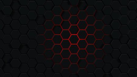Background with abstract hexagons. Red outline on a black background. 3d rendering of polygonal shapes. Imagens