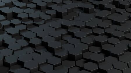 Abstract hexagons gray backdrop. 3d rendering geometric polygons