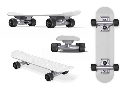 Skateboard from different angles on a white background. 3d rendering.