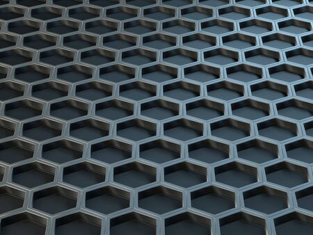 Hexagonal metal cells on a gray background. Abstract background with geometric structure. Texture with honeycombs. 3d rendering.