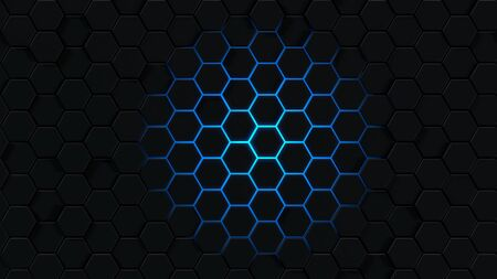 Background with abstract hexagons. Blue honeycomb on a black background. 3d rendering of polygonal shapes. Imagens