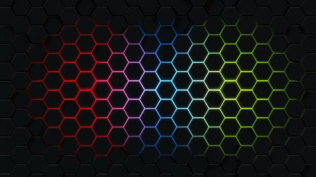 Background with abstract hexagons. Multicolored honeycombs on a black background. 3d rendering of polygonal shapes.