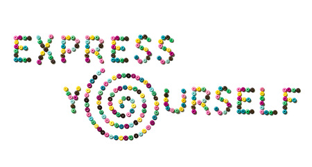 phrase: Phrase EXPRESS YOURSELF made from small colorful beads Stock Photo