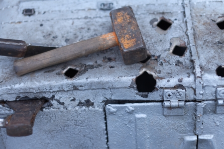 Hammer on the damaged edge.