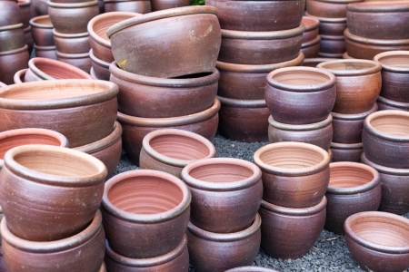 Clay pots stored outside.