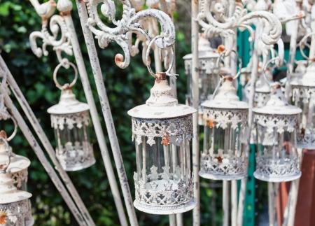 White vintage lanterns. Archivio Fotografico