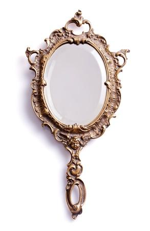 espelho: Espelho de m�o isolado bonito do vintage