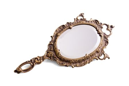 hand carved: Beautiful vintage isolated hand mirror