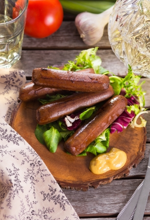 Picnic with grilled bbq sausages