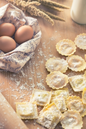 stuffed tortellini: Homemade tortellini pasta prepared and ready for cooking Stock Photo