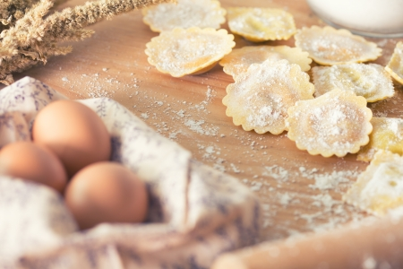 stuffed tortellini: Homemade ravioli pasta prepared and ready for cooking Stock Photo