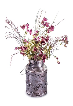 Dried vintage flower bouquet isolated on white Archivio Fotografico