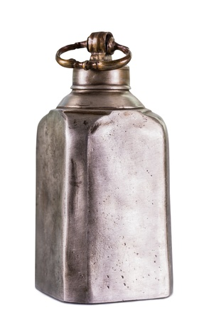 Old vintage metal flask on a white background Archivio Fotografico