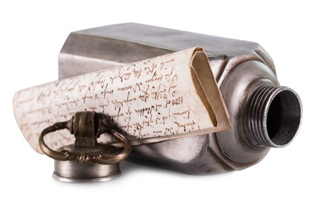 letter or message in a bottle on a white background Standard-Bild