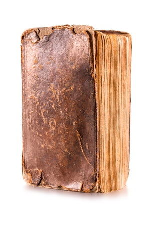 tattered: Old book isolated on a white background Stock Photo