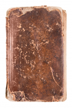 tattered: Cover of an old book isolated on a white background Stock Photo