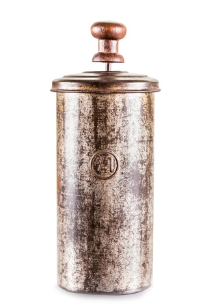 Old vintage French Press Coffee or Tea Maker isolated on white background Archivio Fotografico