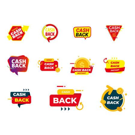 set Cashback loyalty program concept. Credit or debit card with returned coins to bank account. Refund money service design. Bonus cash back symbol vector illustration Stock Illustratie